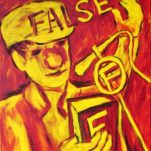 """False News"" contemporary figurative painting.  acrylic on canvas. 16 in x 20 in."
