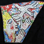 """Relic of Hope and Joy"" mosaic art. smalti on standstone. about 20 in."