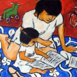 """Mother Child Read"" contemporary figurative art.  acrylic on canvas. 24 in x 20 in."