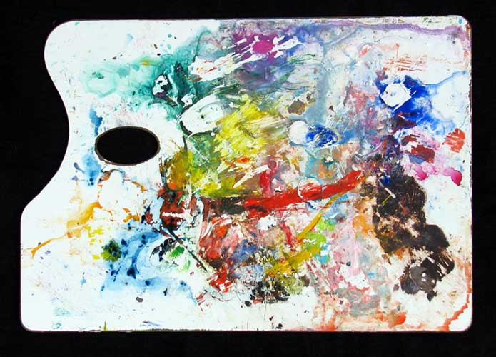 """Artist's Pallet"" contemporary abstract art. acrylic on artist's pallet. 19.5 in x 13.5 in."