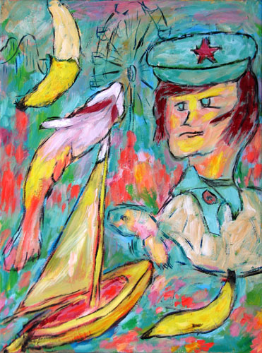 """German Banana Police"" contemporary figurative painting. acrylic on canvas. 18 in x 24 in."