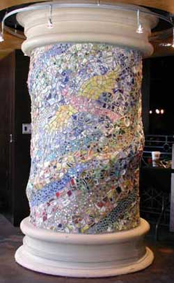 """Hidden Bird"" mosaic column. Tumbled china, marbles, stones, iridescent glass, concrete. 40"" x 72"""