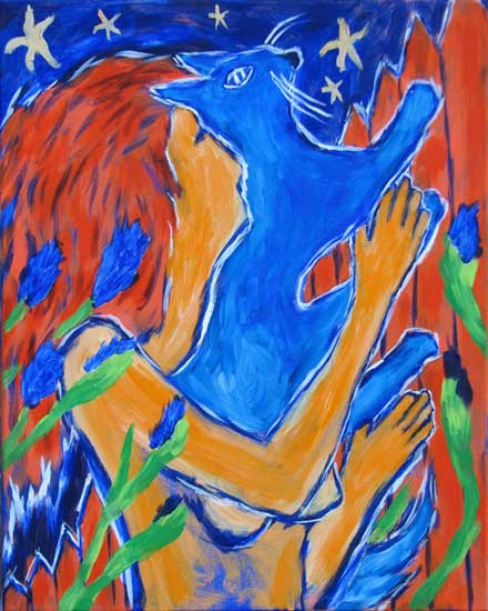 """Blue Star Cat"" contemporary figurative painting. acrylic on canvas. 16 in x 20 in."