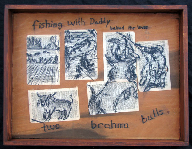 """Brahma Bulls"" pen and ink drawing. found objects, wood, adhesive, ink, acrylic media. 21 in x 16 in x 3.5 in."