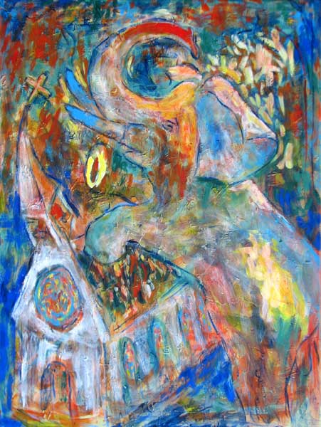 """Elephant Dancing in Church"" contemporary figurative painting. acrylic media, archival pigments, gesso on canvas. 30 in x 40 in."