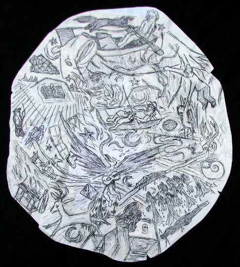 """Mississippi Dream Map (3 Johnboats) "" drawing by Joe Moorman at Riverson Fine Art"