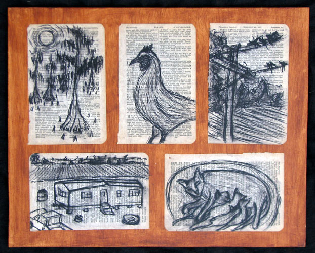 """Mississippi Delta Scenes"" pen and ink drawing. ink, paper, acrylic media, wood. 15 in x 12 in."