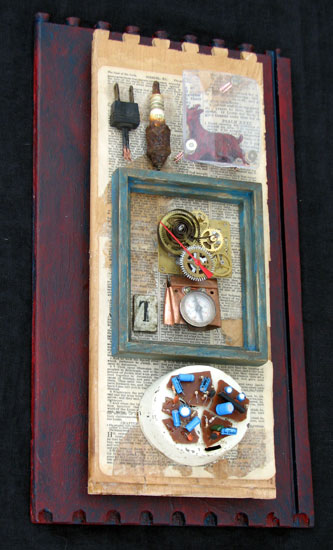 """Devil's Thermostat"" assemblage sculpture. found objects, wood, adhesive, acrylic paint. 9 in x 16 in x 4 in."