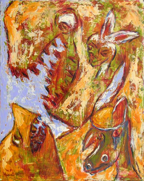 """Dinosaur Tattoos"" contemporary figurative painting. acrylic media, archival pigments, gesso on canvas. 16 in x 20 in."