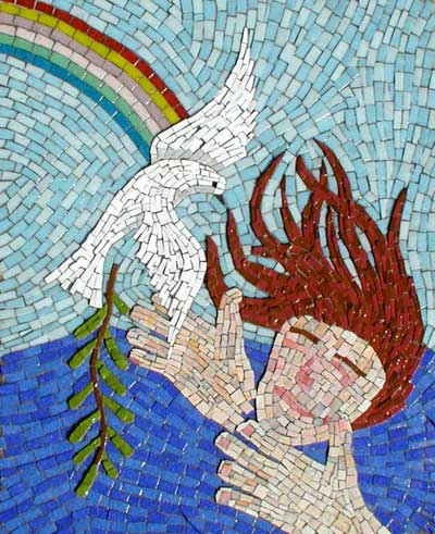 """The Dove Returns"" contemporary mosaic. smalti, vitreous glass tile, grout on panel. 18 in x 22 in."