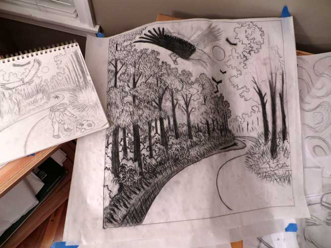 """""""Buzzard Creek"""" charcoal and graphite drawings"""