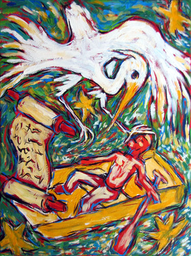 """Egret with Scroll"" contemporary figurative painting. acrylic on canvas. 16 in x 20 in."