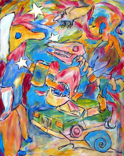 """Feeding Piranhas"" contemporary figurative painting. acrylic on canvas. 24 in x 30 in."