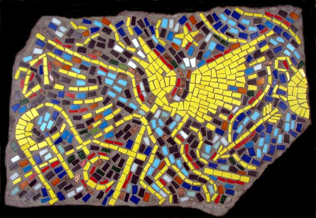 """Fossil Republic"" mosaic art. concrete and vitreous glass on fieldstone. 26 in x 18in."