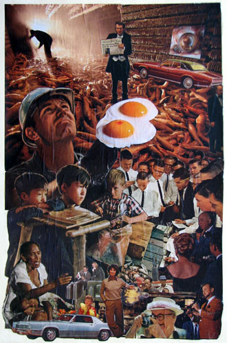 """Fried Eggs"" contemporary paper collage art. paper clippings and acrylic resin on canvas. 12 in x 18.5 in."