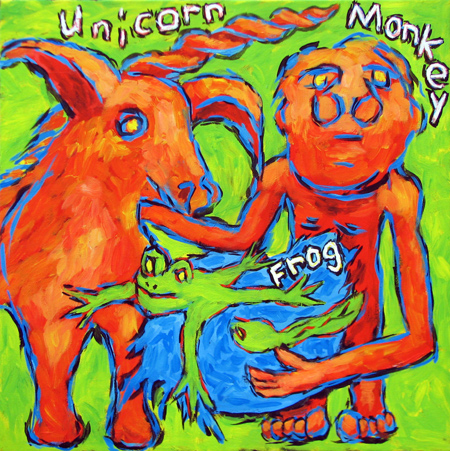 """Frogs Monkeys Unicorns"" contemporary figurative painting. acrylic on canvas. 20 in x 20 in."