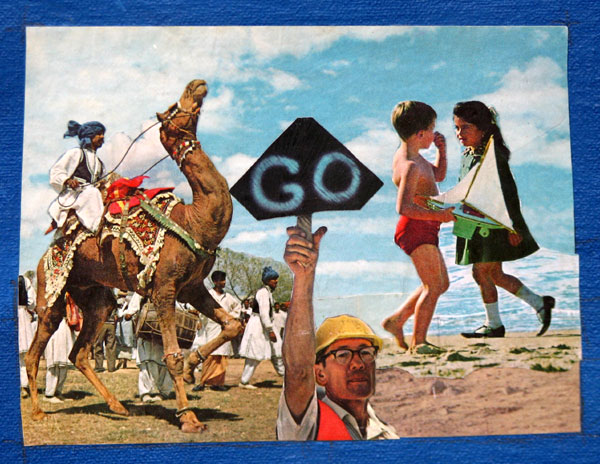 """Go"" contemporary paper collage art. paper clippings and acrylic resin on canvas. 6.5 in x 5 in."