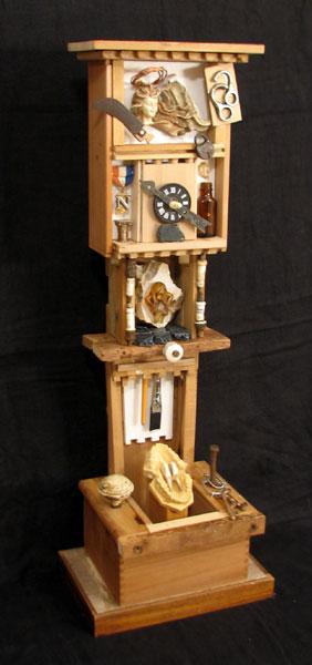 """Grandmother Clock"" assemblage sculpture by Joe Moorman at Riverson Fine Art"