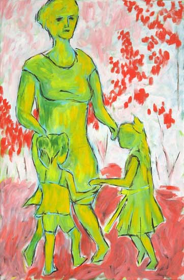"""Green Mother Dancing"" contemporary figurative art. acrylic on canvas. 20 in x 30 in."