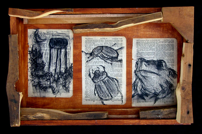 """Junebug Night"" pen and ink drawing. found objects, wood, adhesive, ink, acrylic media. 15.5 in x 10 in x 2.75 in."
