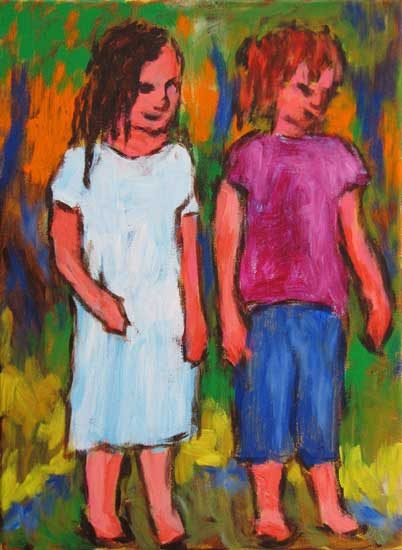 """Study for Little Girls"" contemporary figurative painting. acrylic on canvas. 24 in x 30 in."