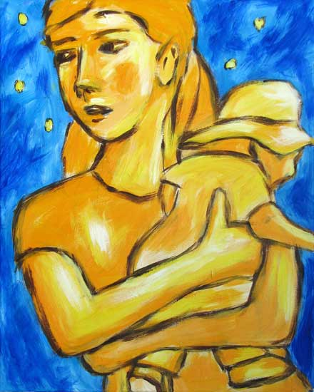 """Little Man"" contemporary figurative painting acrylic on canvas 18 in x 24 in"