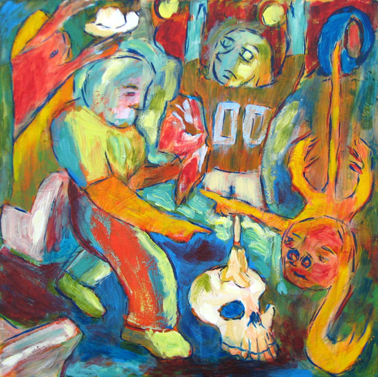 """The Flat-Earth Monkey Doubters"" contemporary figurative painting. acrylic on canvas. 30 in x 24 in."