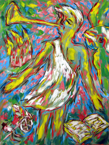 """Moroni with Green Parrot"" contemporary figurative painting. acrylic on canvas. 18 in x 24 in."