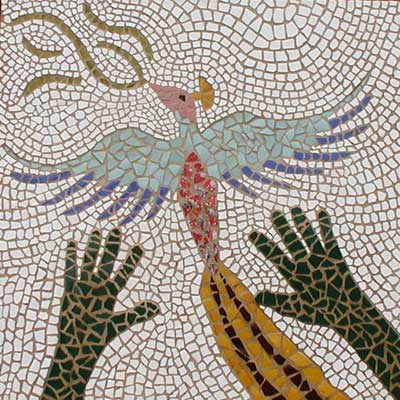 """Bird"" contemporary mosaic art. ceramic, porcelain and grout on wood. 24 in x 24 in"
