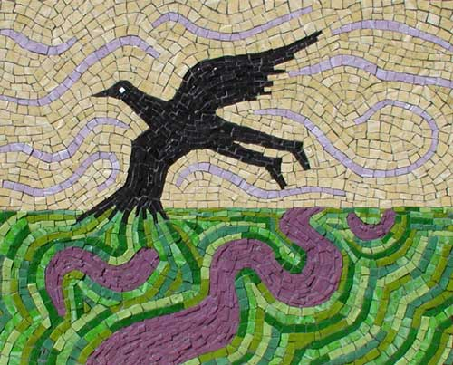 """Blackbird Flying Over the Delta"" contemporary mosaic art. smalti on panel. 18 in x 22 in."
