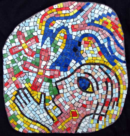 """Bluejay"" contemporary figurative mosaic. smalti on concrete board. about 20 in."
