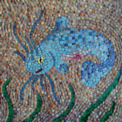"""Catfish"" mosaic art. pebbles, stained glass, glazed ceramic, grout on panel. 24 in x 24 in."