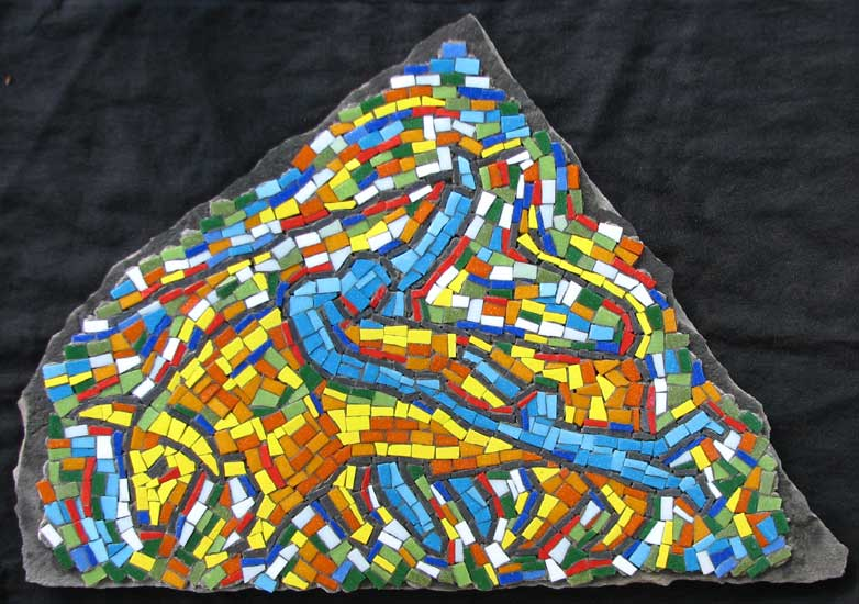 """Charging Bull"" mosaic art. concrete and vitreous glass on fieldstone. 24 in x 16 in."