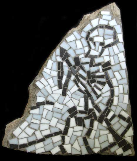 """Charon the Ferryman"" mosaic art. concrete and vitreous glass on fieldstone. 11.5 in x 13.5 in."