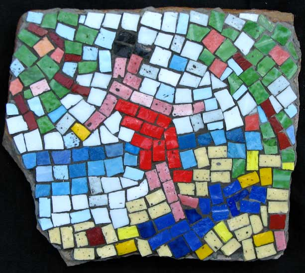 """Coconut Beach"" mosaic art. smalti on standstone. about 8 in."