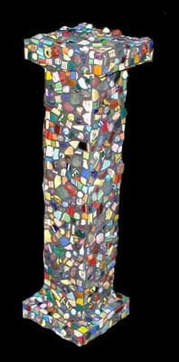 """Column"" mosaic sculpture. china, marbles, quartz, dinnerware, smalti, carnelian, ceramics, agates, tumbled glass, amethyst, bottlenecks, glass tile and beach stones. grouted. 27 in x 8 in x 8 in"