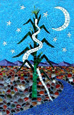 """Corn Snake"" mosaic art. carnelian, smalti, stained glass, ceramic, tumbled glass, beach stones, grout on panel. 14 in x 22 in"