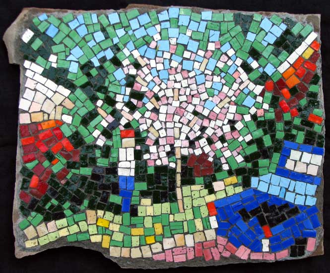 """""""Daddy and the Dogwood Tree"""" mosaic art. smalti on standstone. about 14 in."""