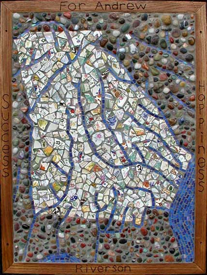 """Georgia Map"" mosaic art. Italian glass, tumbled stone, broken china, mortar on concrete panel. 24"" x 33"""
