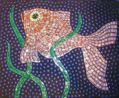 """Goldfish"" mosaic art. iridescent glass mosaic tile, cobalt glass gems on panel. 22 in x 18 in."