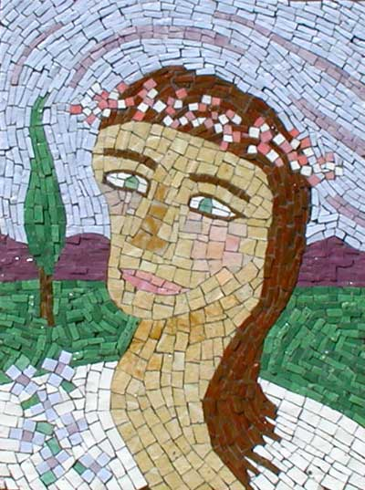 """My Green-Eyed Bride"" mosaic art. smalti on panel. grouted. 18 in x 22 in."