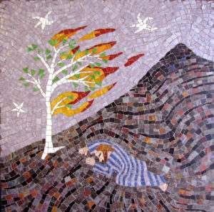 """Moses and the Burning Bush"" mosaic art. smalti on wood 23 in x 23 in"