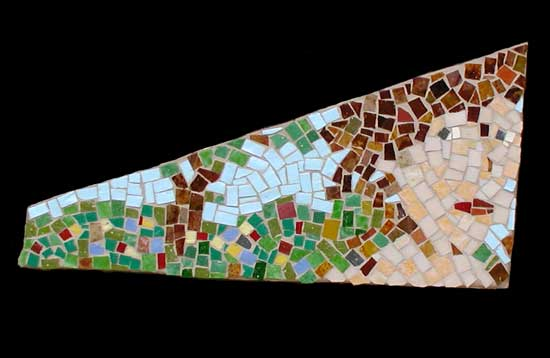"""Proud Woman"" mosaic art. smalti on wood. 14"" x 8"""