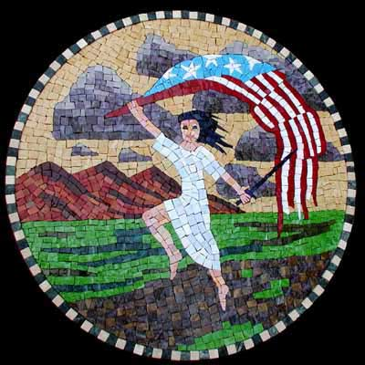 """liberty"" mosaic art. smalti with honed marble border on hardwood. 23 in diameter."