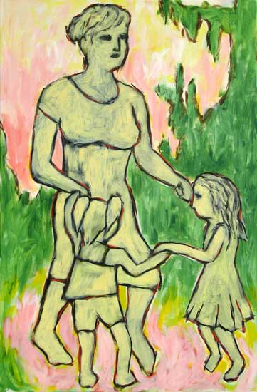 """Mother Dancing"" contemporary figurative art. acrylic on canvas. 20 in x 30 in."