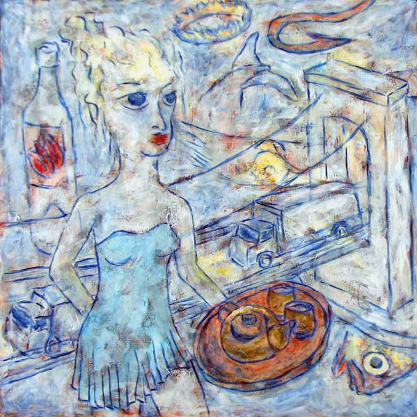 """New York Tearoom"" contemporary figurative painting. acrylic media, archival pigments, gesso on canvas. 36 in x 36 in."