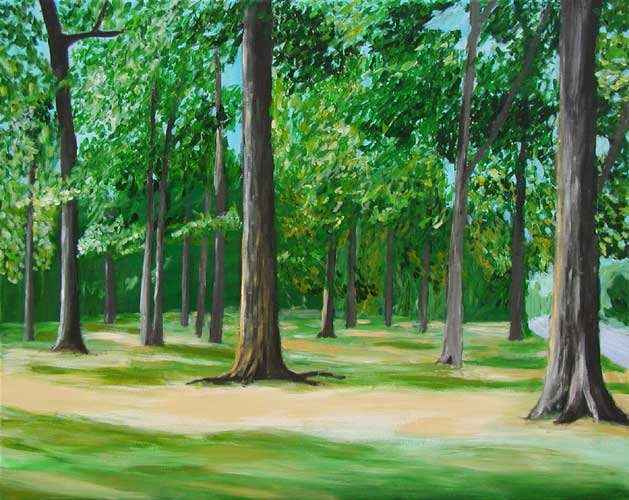 """Overton Park"" contemporary figurative painting. acrylic on canvas. 30 in x 24 in."