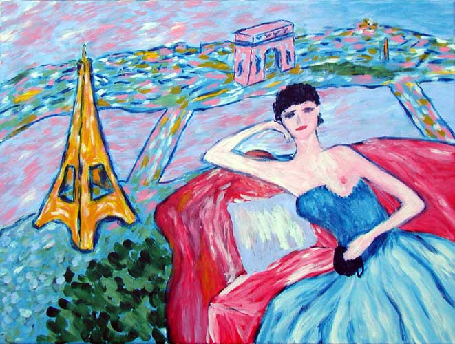 """""""The Artist's Wife in Paris"""" contemporary painting. acrylic on canvas. 16 in x 12 in."""