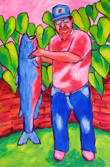 """Catfish Study"" contemporary figurative painting. acrylic on canvas. 20 in x 30 in."