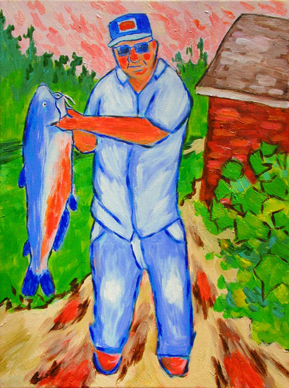 """Channel Cat"" contemporary figurative painting. acrylic on canvas. 18 in x 24 in."